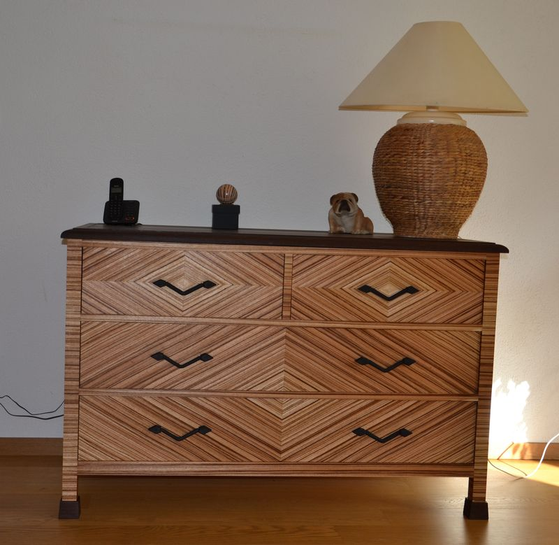 Zebrano chest of drawers