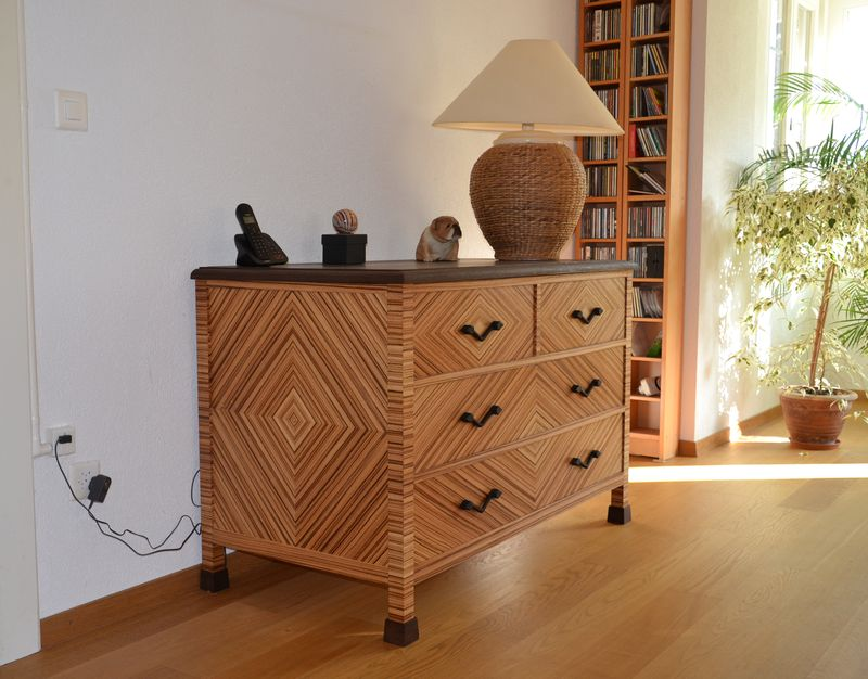 Zebrano chest of drawers 1