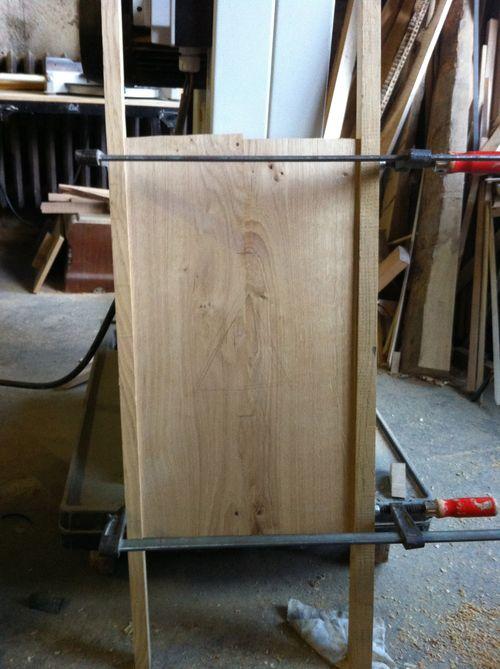 Gluing a central door panel