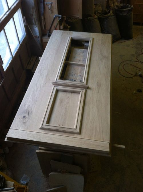 Oak front door sanded but unvarnished