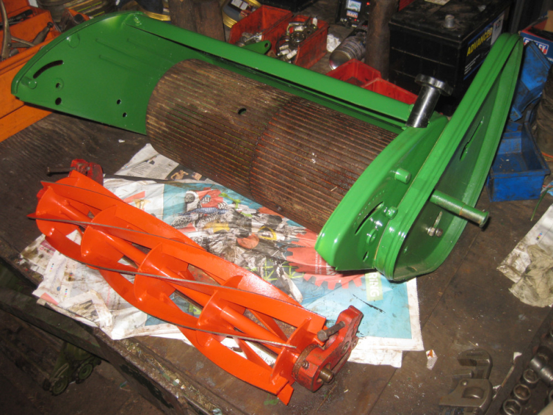 Rear-Roller and Cutting Cylinder Assemblies being fitted to deck